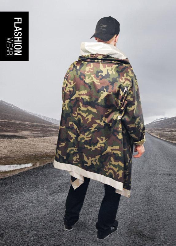 Atstarojoša jaka vīriešiem - Kamoflaža Lietus Jaka (seši vienā)