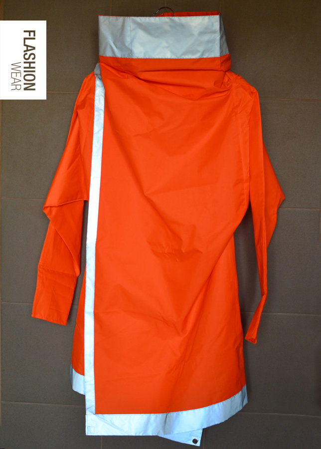 UNISEX Reflective Rain Jacket - Neon Orange -6in1- OOK