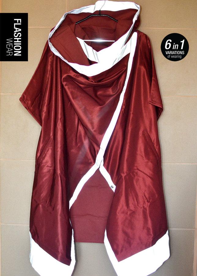 UNISEX Ķiršu krāsas atstarojošā jaka ar pagarinātu apakšdaļu