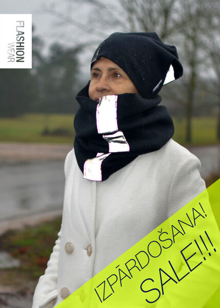 Reflective Black Accessory Kit - Hat and Tunnel Scarf with laces