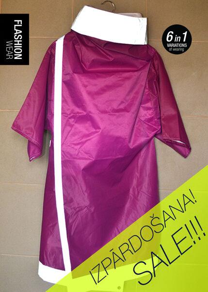 Rozā atstarojoša lietus jaka ar pusgarām piedurknēm (ūdens necaurlaidīgs)