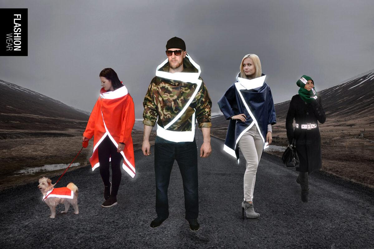 Reflective clothing, reflective coat, reflective belt, reflective hat, reflective scarf, reflective dog vest. Reflective clothing brand FLASHION WEAR.